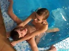 Cute teen fucks in the pool