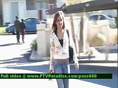 Melissa teenage redhead babe walking down the street
