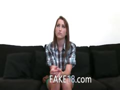 Shy teenage girl gag dick on sofa