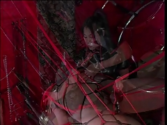 Horny guy in bondage action with an asian
