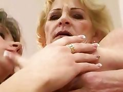 Granny and teen making hot love