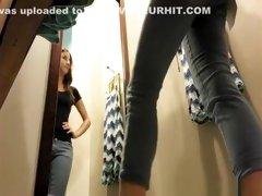 Nice brunette in dressing room