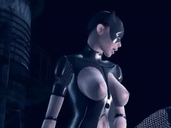3D Catwoman licking Supergirls wet pussy on a roof
