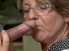 This wrinkled old housewife gets the dick she needs from a plumber