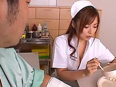 Beautiful nurse Ray Aoi massaging and pleasuring her patient