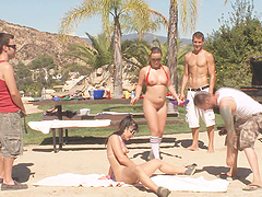 Outdoor orgy session with cock craving brunette babes