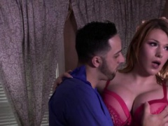Redhead shemale Aspen gets her ass pounded by a hunk Italian