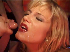 Two guys and a hot blonde in fetish hardcore Ffm threesome