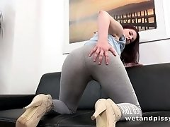 Sizzling chick Mag Ray pisses in her pants before a crazy dildo fucking