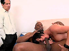 Busty Milf's Fucked By A Big Black Cock While Her Man Watchers