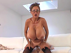 Minka and her massive tits get fucked by a lucky stud