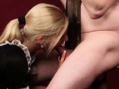 Femdom british housemaid jerking and sucking