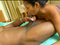 Horny Latina has her face covered by jizz after being fucked