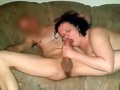 Horny wife blows and sucks the big cock of her fuck buddy