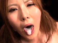 Big breasted Japanese slut takes a huge cumload on her face