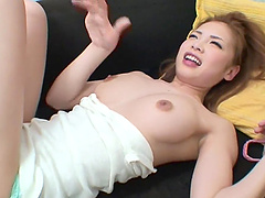 Cute japanese av model relaxes for a hot solo fuck action