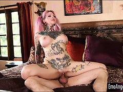 Huge tits tattooed emo Sydnee Vicious railed by stepbro
