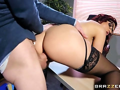 Office whore takes his giant dick in her cunt