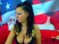 Milf with dildo caught on public Webcam