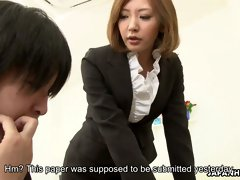 Perverted Asian dude fucks young teacher of his stepson Mio Kuraki