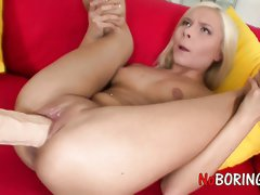 Suzy C is horn-mad lesbian who loves to use giant strapon for twat