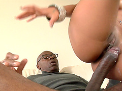 Seductive cowgirl fingering her pussy before having her anal drilled hardcore with big black cock