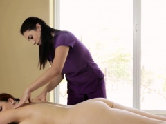 Buxom lesbian massaged
