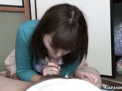 Modest looking Japanese cutie Juri Kitahara enjoys some good oral sex