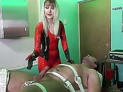 White dude gets destroyed by his horny red latex mistress