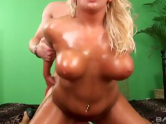 Super juggy tanned blonde Lucy Lovelle gets her whorish pussy slammed