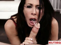 Brunette milf face fuck and cum in mouth