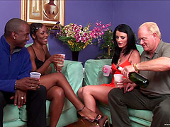 Black and white couples change their partners for swingers party