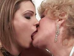 Granny and pretty girl licking their pussies
