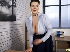 British secretary Cherry Blush unbuttons her blouse and shows big boobies