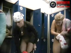 Chubby busty babes oiling up in a voyeur spy cam video