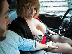 Sara's  big tits attract her son's  best friend