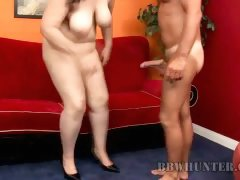 Beautiful chubby brunette with big boobs gives steamy blowjob