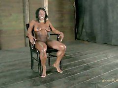 Submissive ebony chick Ashley Starr has to undergo BDSM tests