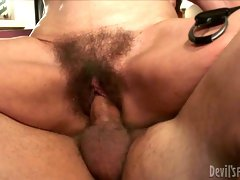 Dirty old floosie  gets her hairy pussy fucked by young dude