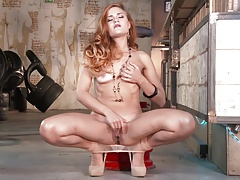 Amazing read-head teasing and enjoying herself in pantyhose