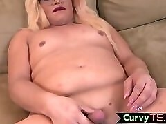 Curvy spex TS pleasuring her cock