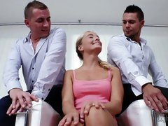 Czech blonde with perky nipples Victoria Pure gets double penetrated