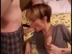 Short Hair Milf With Glasses Gives Blowjob With Facial