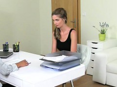 Female agent recording oral casting POV
