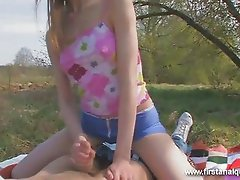 Tiny teen ass fucked outdoors