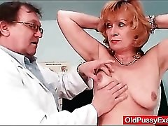 Thorough exam of her mature pussy by the doctor