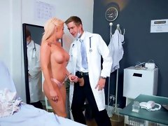 Busty blonde with big tits hard fucked by the doctor