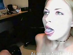 A busty blonde sucks a dick and gets a cumshot to her tongue