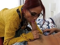 Red haired milf in glasses Claudia Fox is fucked and jizzed by horny stepson