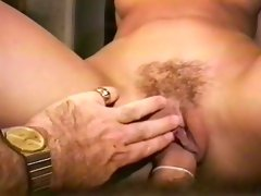 Marvelous brunette cutie with hairy pussy sucks hairy balls